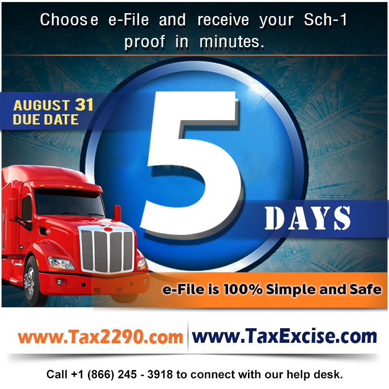 Last Five Days to E-file IRS Form 2290 – Deadline August