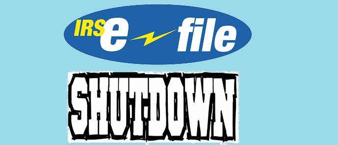 IRS E-file shut down is scheduled to begin December 26th 2017!